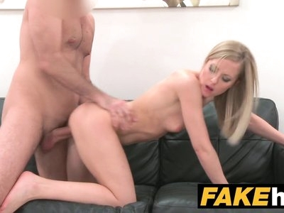 Fake Agent Shy blonde model likes her shaved pussy licked