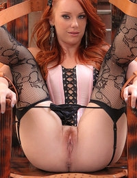 Redhead gets tied up