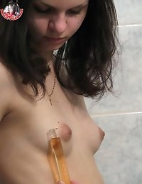 Slim brunette with perky tits showering her body not taking off her panties
