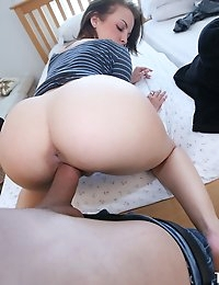 Cute ass girlfriend with an amazing booty bends over and gets boned at home