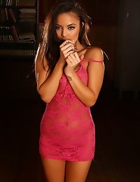 Stunning busty babe Justene Jaro teases with her big tits in a sexy pink lace outfit that barely covers her perfect curves