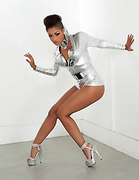 Skin Diamond goes cyber hot in her metallic outfit.