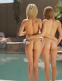 Two hot blondes have a threesome by the pool