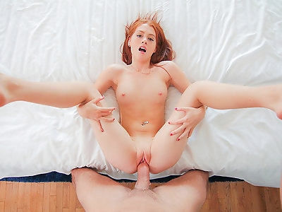 College ginger girl brings home a stranger to pound her ass